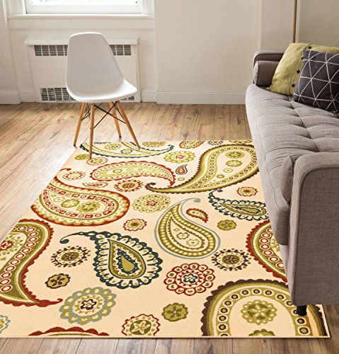 Well Woven Non-Skid Slip Rubber Back Antibacterial 5x7 (5' x 7') Area Rug Kino Paisley Multi Beige Red Modern Floral Thin Low Pile Machine Washable Indoor Outdoor Kitchen Hallway Entry