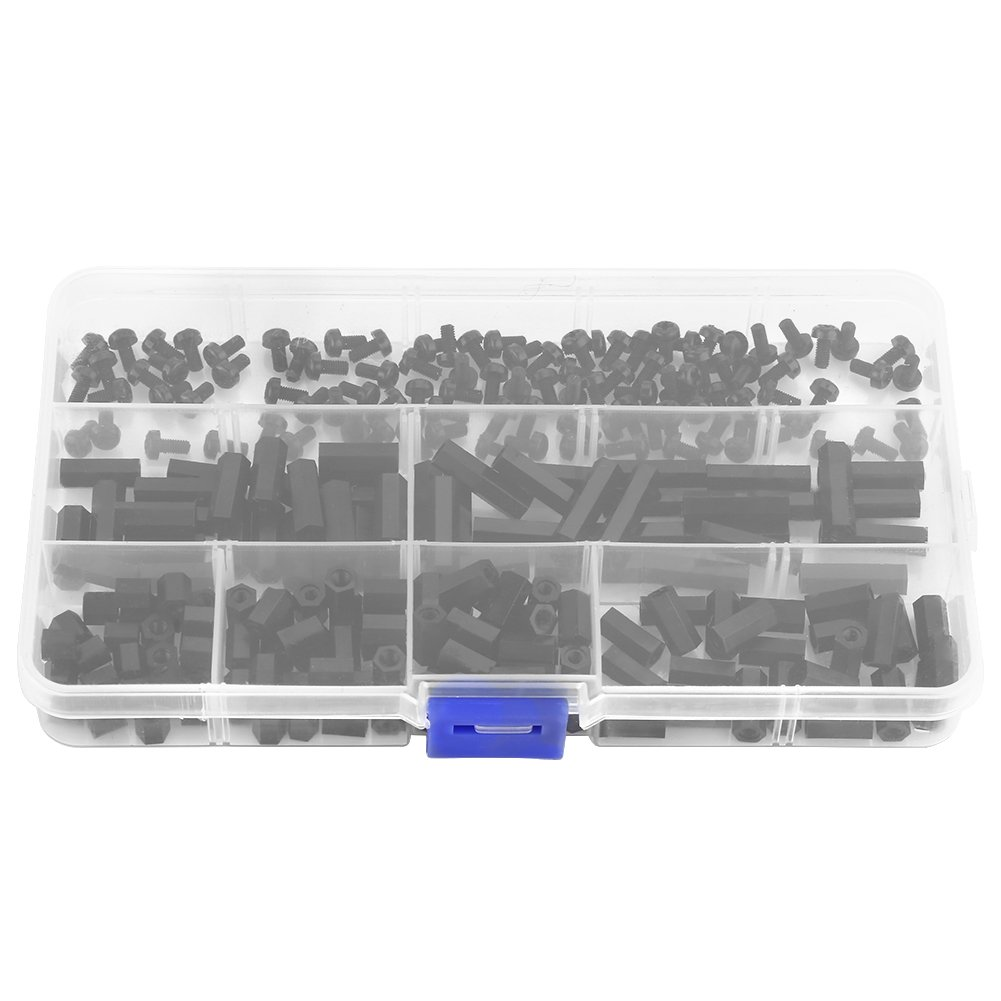 250Pcs M2 /M3 Hex Column Standoff Spacer Pillars Screws Nuts Assortment Kit with Storage Box (M3 Female to Female)