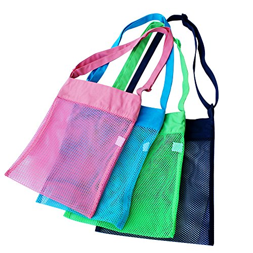 Colorful Mesh Beach Bags 11.8 x 13.4inch Breathable SeaShell Bags with Adjustable Carrying Straps (4 PC Set) Green, Blue, Dark blue & - It Let Swim Tool