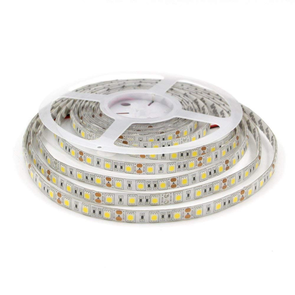 LEDMY DC 12V Flexible Led Strip Light UL(E477884) certification, Led Tape, SMD5050-300Leds, IP62 String Light (White, 4000K) 16.4FT/5M Under Cabinet Lights Using for Spa Light, Homes, Kitchen Decor