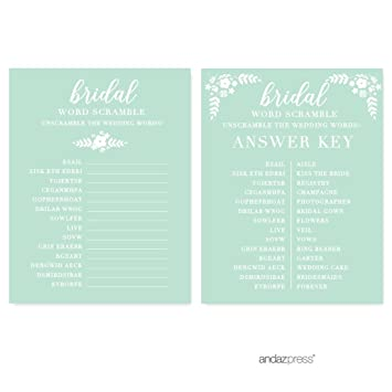 Andaz Press Floral Mint Green Wedding Collection Wedding Word Scramble Bridal Shower Game Cards 20 Pack