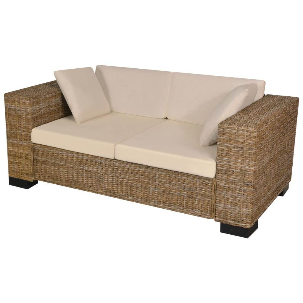 SENLUOWX Siete Piezas sofá de 2 plazas ratán Real Cojín ...
