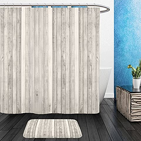 Vanfan Bathroom 2Suits 1 Shower Curtains & 1 Floor Mats white wood plank wall texture background panorama 217087450 From Bath - Echelon Echelon Shower Locker