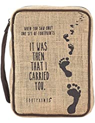 Footprints in the Sand Large Burlap Jute Bible Cover with Handle