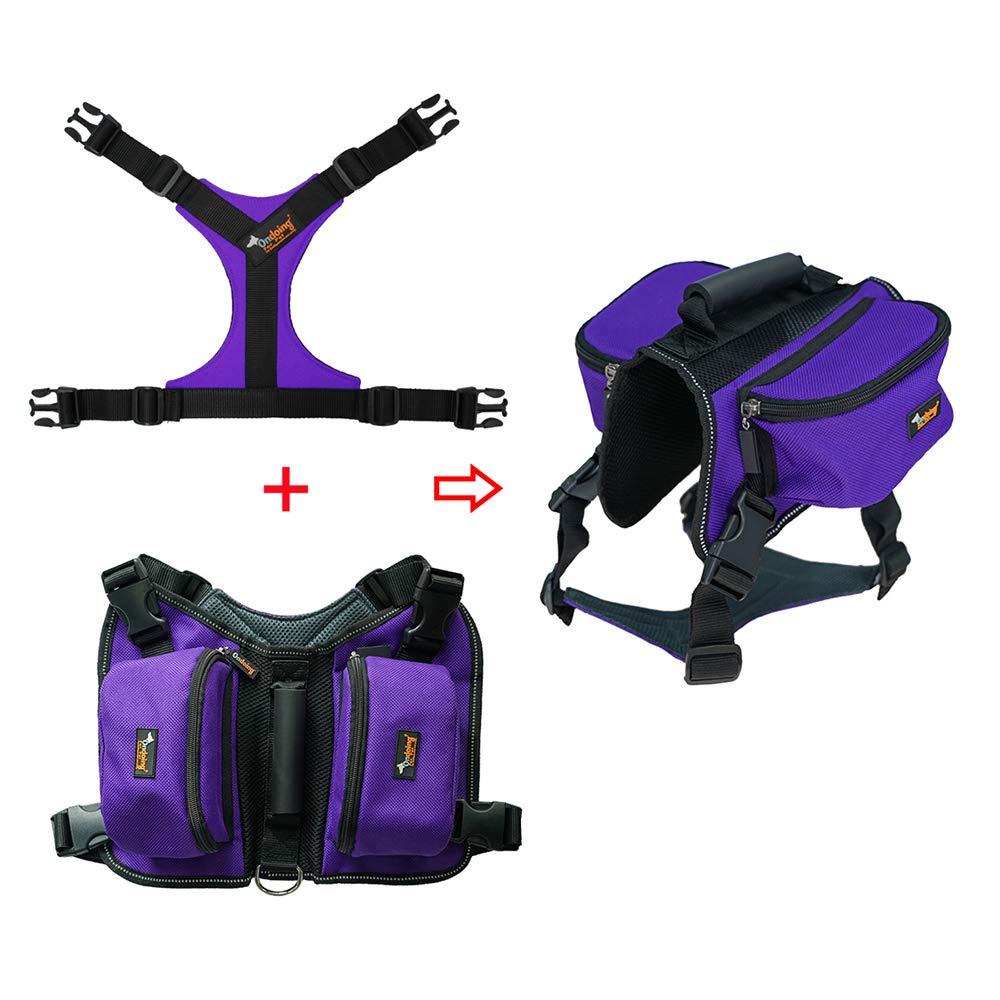 Dog Backpack, Pet Adjustable Saddle Bag Harness Carrier, for Traveling Hiking Camping, Medium,Purple,XL
