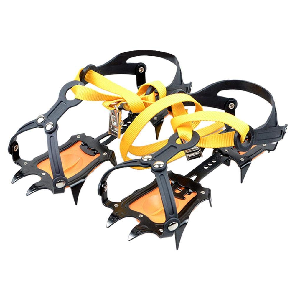iBaste Spikes Crampons 10 Teeth Non-Slip Manganese Steel Traction Cleats Ice Snow Grips