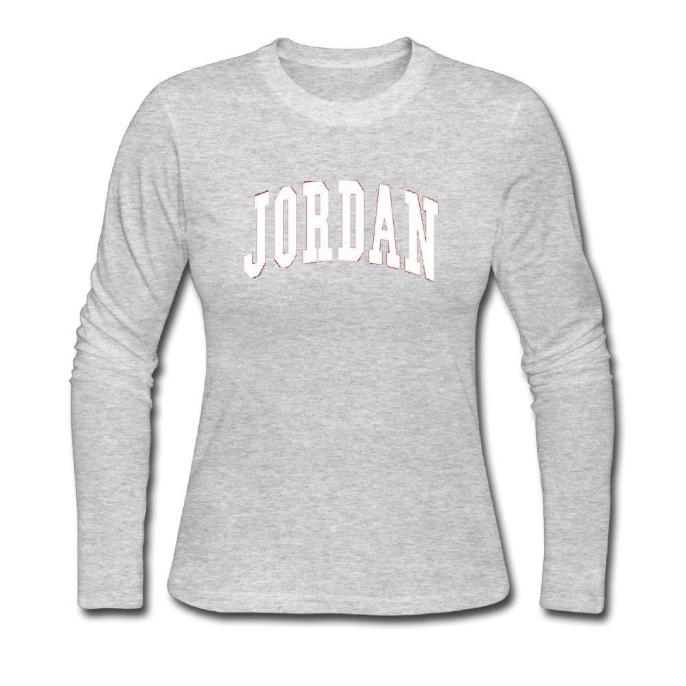 Women's Long Neck Sleeve JORDAN.png Cotton Shirt SizeKey1 Gray