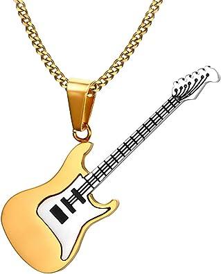 Haisiluo 316 - Collar con Colgante de Guitarra (Acero Inoxidable ...