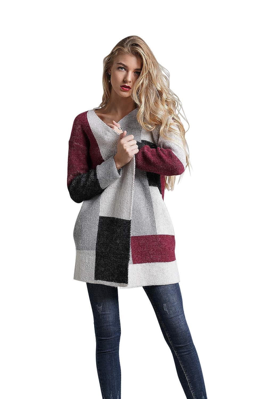 WEEKAN Long Cardigan Sweaters for Women Open Front Color Block Knitwear Soft Outwear Navy//Camel//Wine Red