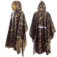 JTENG Rain Poncho Waterproof Ripstop Hooded US PVC Camouflage Rain Coat…