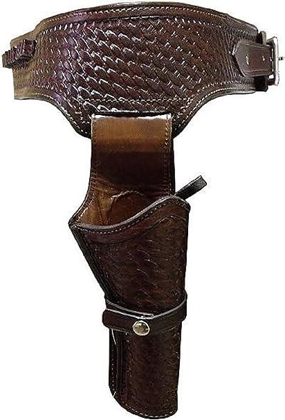 38/357 Caliber Brown Weave Pattern Western Leather Gun Holster