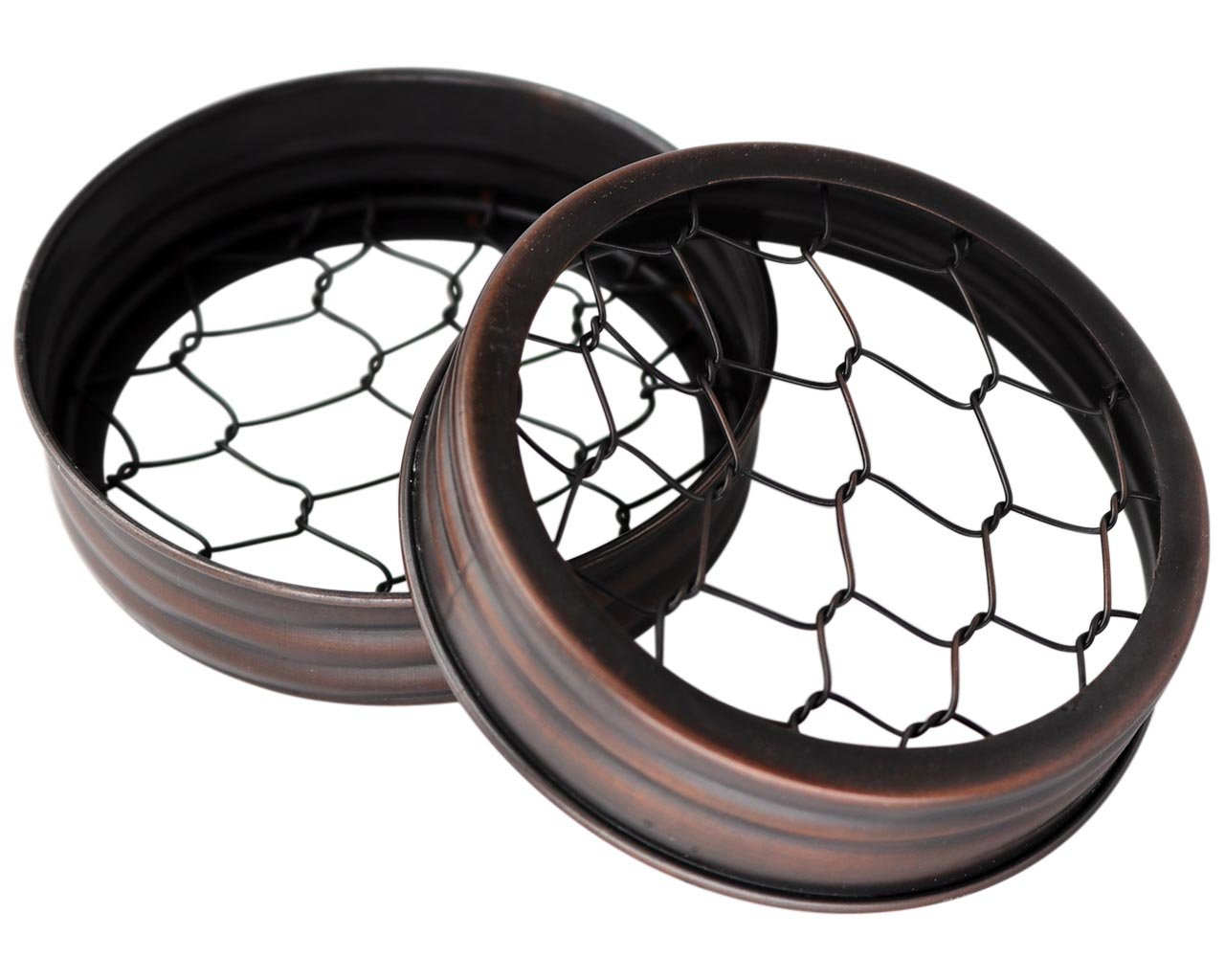 Oil Rubbed Bronze Flower Organizer Frog Lid for Mason Jars (3 Pack, Wide Mouth)