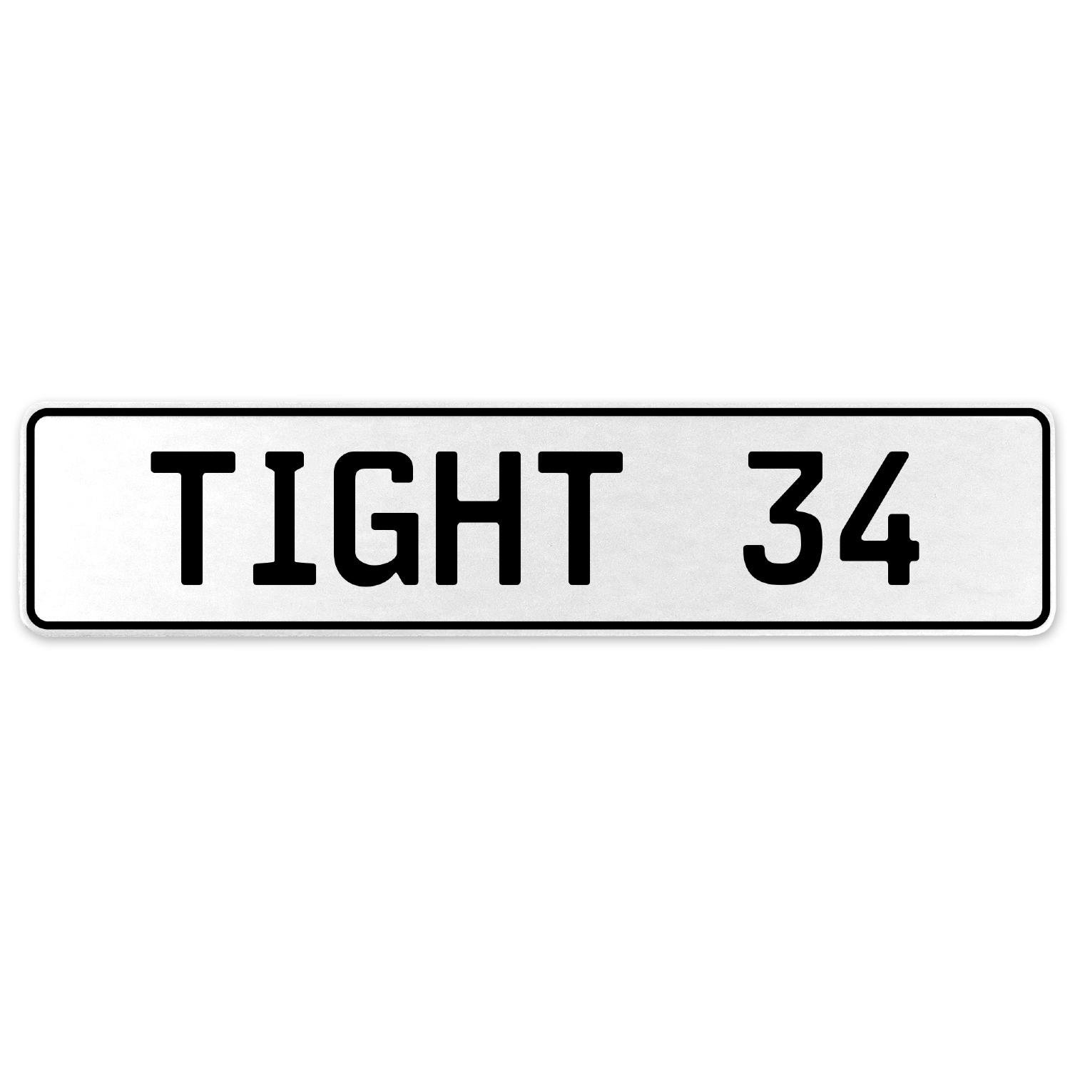 Vintage Parts 554730 Tight 34 White Stamped Aluminum European License Plate