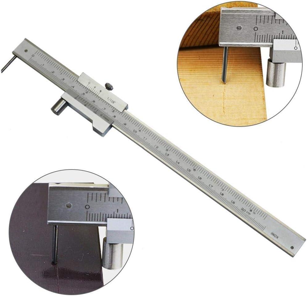 lasergravierter T-f/örmiger paralleler Linienschreiber aus Edelstahl mit tragbarer Feineinstellung 0-160 mm Messger/ät f/ür T-Genauigkeitsmarkierung Nonius-Tiefenmesser