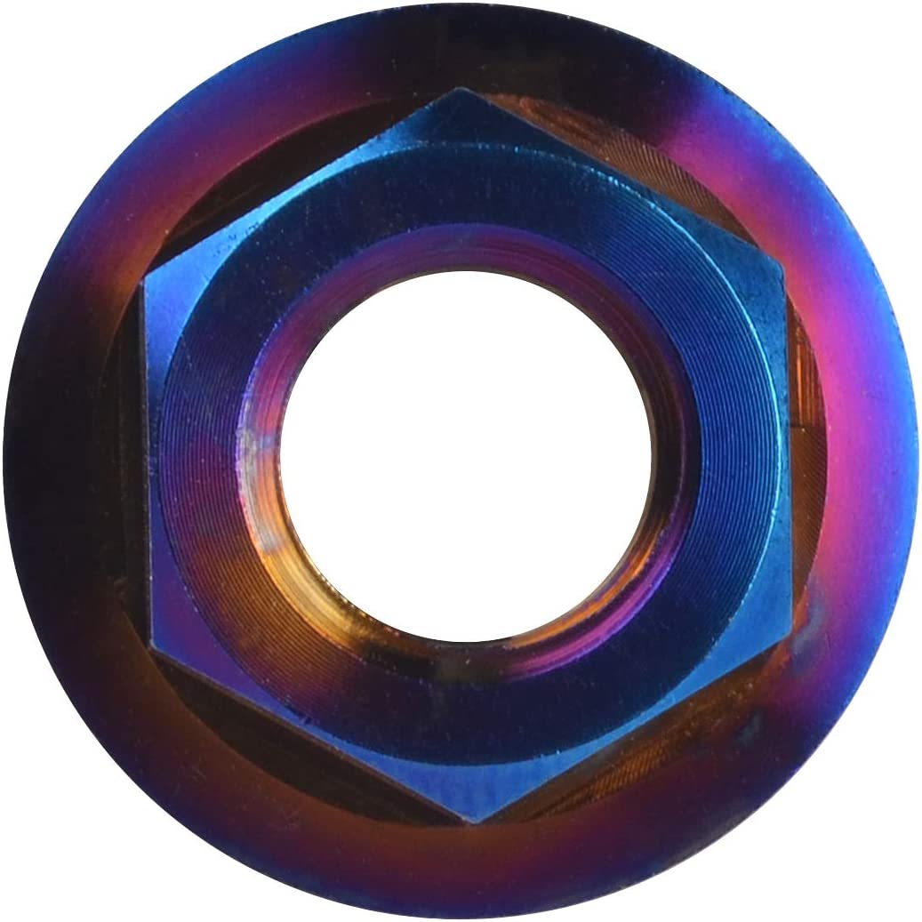 M5 Pitch 0.8mm, Fire Blue Wanyifa Titanium DIN6923 M5 M6 M8 M10 M12 M14 M16 Hex Flange Nuts Pack of 6