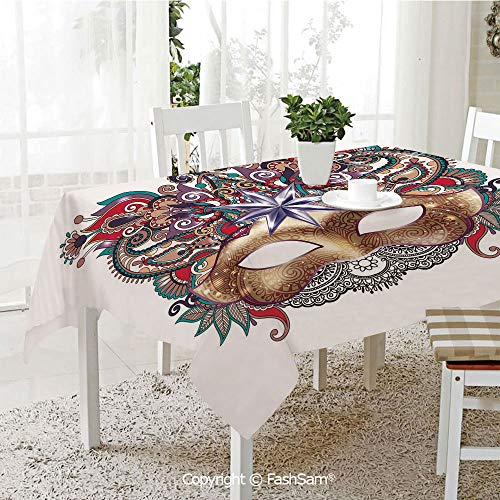 AmaUncle 3D Print Table Cloths Cover Venetian Carnival Mask Silhouette with Ornamental Elements Masquerade Costume Decorative Resistant Table Toppers (W60 xL84)]()