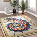 Calico Modern Abstract Floral Saree Bright Colors Vintage Modern Area Rug Blue Fuschia Purple Yellow Beige Area Rug