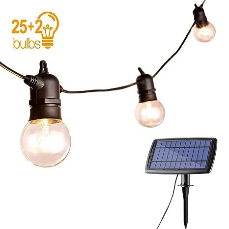 Cadena de luces LED, Sunix G40 Luces de Cadena Vintage con Panel Solar, Luces