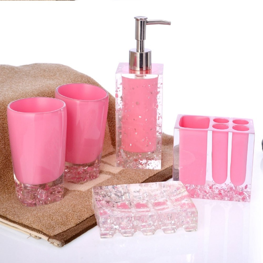 Modern Decorative Durable Resin 5-Piece Bathroom Accessory Set Included Soap Dispenser, Toothbrush Holder, Tumbler, Soap Dish (Large, Pink) by Popular Bathroom Accessory Set