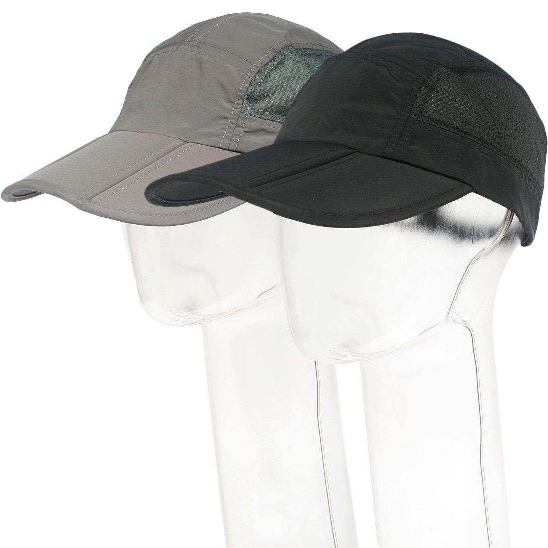 kilofly Mens Foldable Lightweight Quick Dry Adjustable Outdoor Cap, Set of 2 AMA601set2A