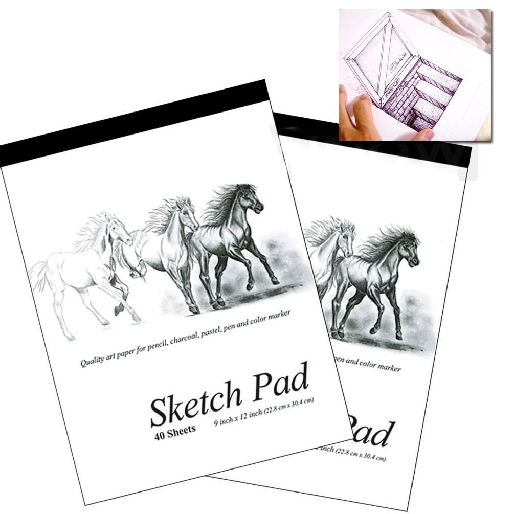 2 Set 9 X 12 Inches 40 Sheets Premium Quality Sketch Book Drawing Paper Pad Art by unbrand