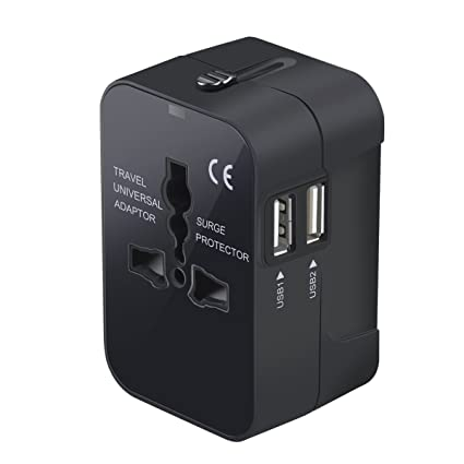 bced5f76f2a96 Travel Adapter, Worldwide All in One Universal Travel Adaptor Wall AC Power  Plug Adapter Wall Charger with Dual USB Charging Ports for USA EU UK AUS ...