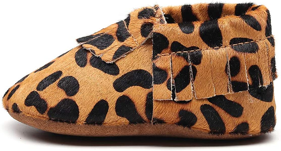 FAYUEKEY Baby Moccasins for Girls /& Boys Soft Sole Leopard Print First Walkers Toddler Genuine Leather Shoes
