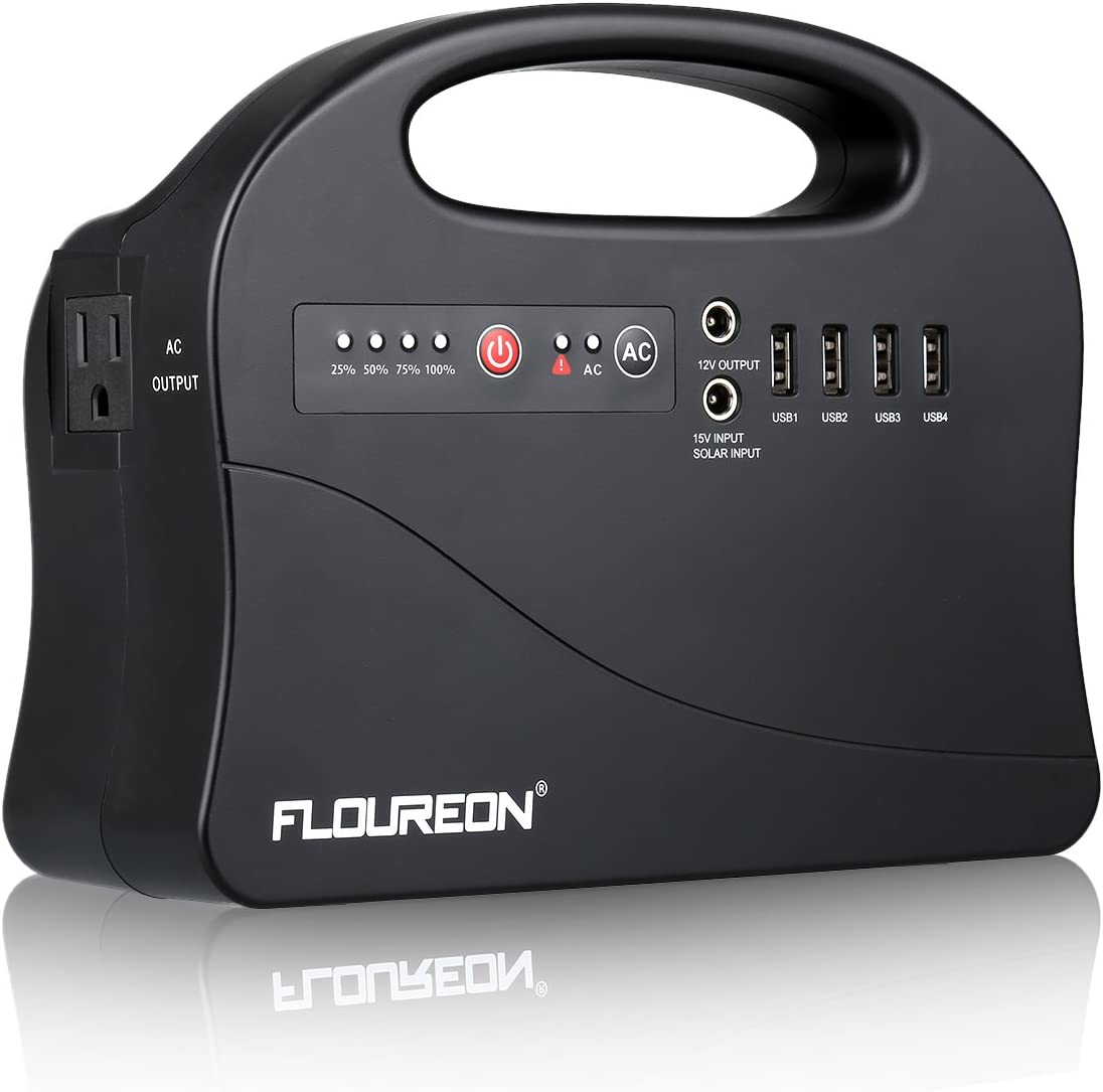 FLOUREON Portable Power Station, 200W 146Wh Solar Generators Power Supply for Outdoors Camping Travel,Home Office Emergency AC Power Bank with 120V AC Output, 12V dc Port,4 USB Ports,Flashlight