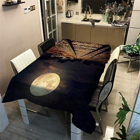 SONGHJ Algodón poliéster Starry Sky Moon Mantel Impreso Decoración ...