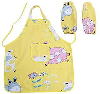 2-6 Years Old Kids Apron YELLOW Cartoon Canvas Apron for Cooking & Painting PANDA SUPERSTORE PS-TOY2528022011-EMILY01587