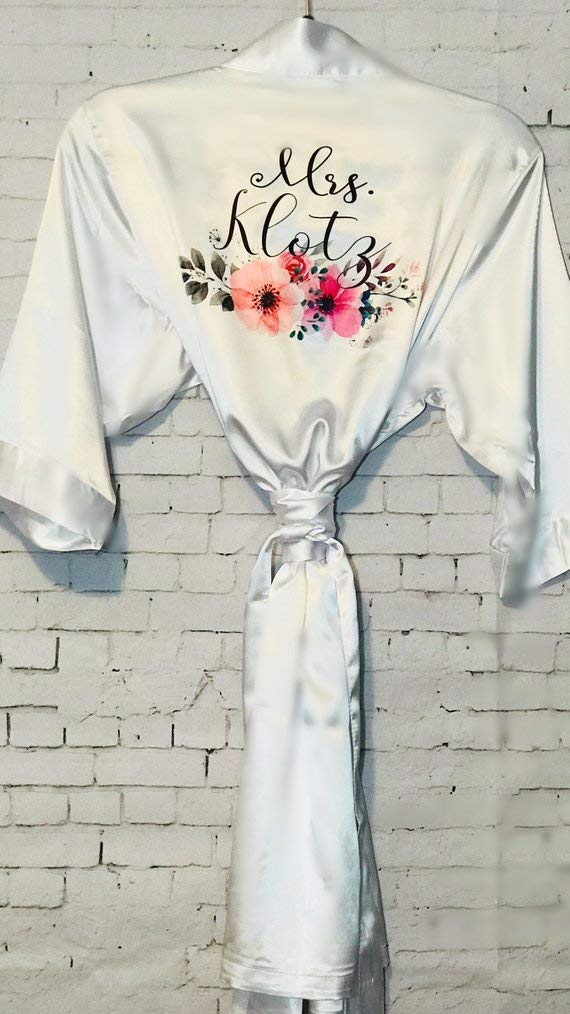 Personalized Satin floral Robes for Bride and Bridesmaids, Bridal Party robes, Peronalized Gift