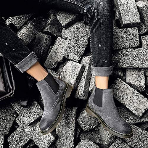 Vintage Nightclub Affari Grey Boots Antiscivolo Stivali Degli Le Dita Alti Dei Ufficio Caviglia Chelsea Brogue Rounded Vacanze Scarpe Uomini Piedi rTHwqrO