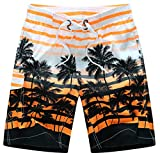 Men Beach Shorts Quick Dry Coconut Tree Printed Elastic Waist 4 Colors M-6XL AYG219