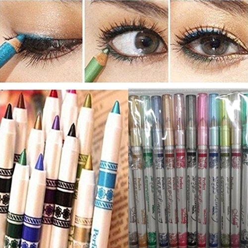 DZT1968 12PCS 15cm Women Waterproof Glitter Lip liner Eye Shadow Eyeliner Pen Mousse Makeup Cosmetic Sets 12 Colors -