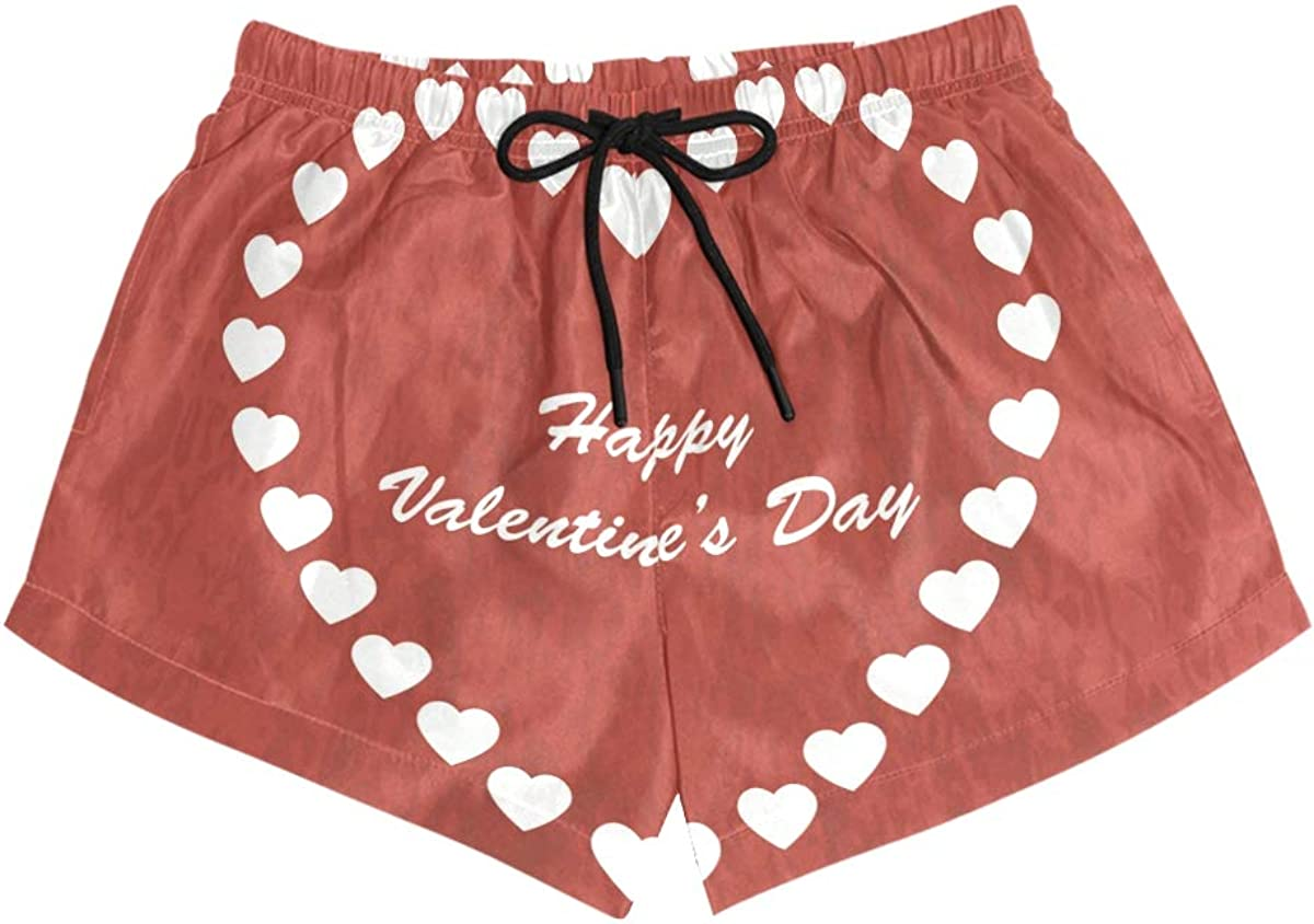 HEOEH Womens Valentines Day Love Heart Red Beach Shorts Pants Ladies Boardshort Swimming Trunks