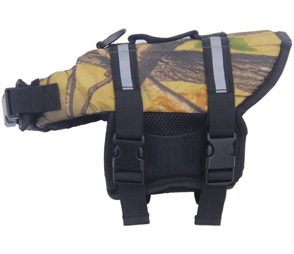 Camouflage S Camouflage S PETGADS Dog Life Jacket S Reflective Accents Small Camo