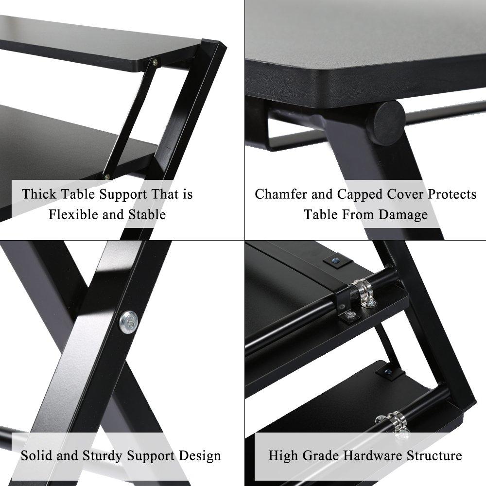 Hervorragend Zerone Faltbarer Tisch,Computertisch,Laptoptisch,Tragbarer Tisch Aus Holz  Für Arbeit Und Spass(Weiß,Schwarz) (Schwarz)
