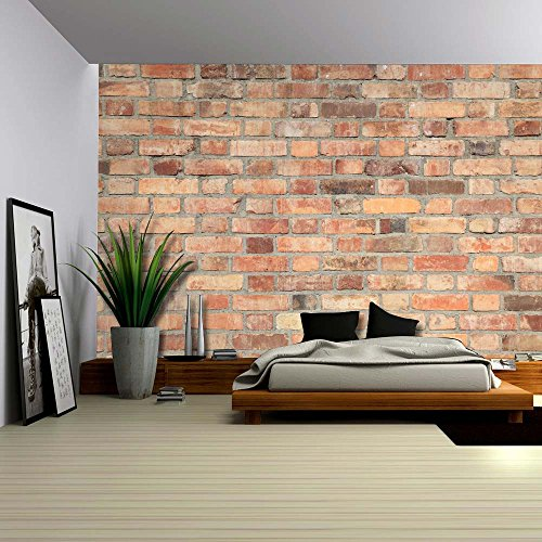 Shades of Orange and Brown on a Brick Wall Wall Mural Removable Wallpaper