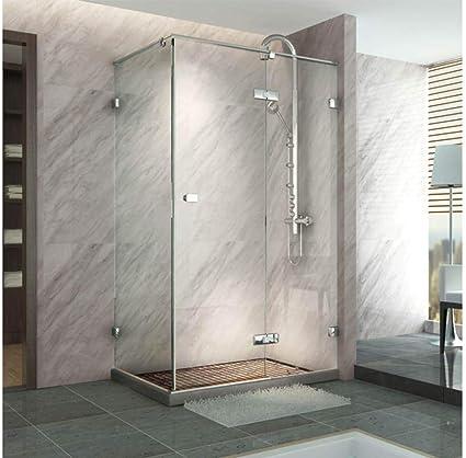 Partición de ducha con puerta corrediza rectangular, de vidrio templado decorado, vidrio transparente de seguridad de 8 mm, con perfiles ajustables de 10mm.: Amazon.es: Bricolaje y herramientas