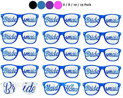 Bachelorette4Ever Set of 6/8/10/15 Bachelorette Party Sunglasses in 4 Colors (Black/Blue/Purple/Pink) - Party Sunglasses for Wedding, Ceremonies & - (15 Pack, - Sunglasses 0.75