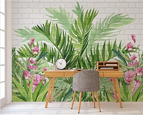 255 Brick - BZDHWWH Custom Wallpaper Hand-Painted Watercolor Flowers Tropical Rainforest Brick Wall Tv Background Walls Mural 3D Wallpaper,170Cm (H) X 255Cm (W)