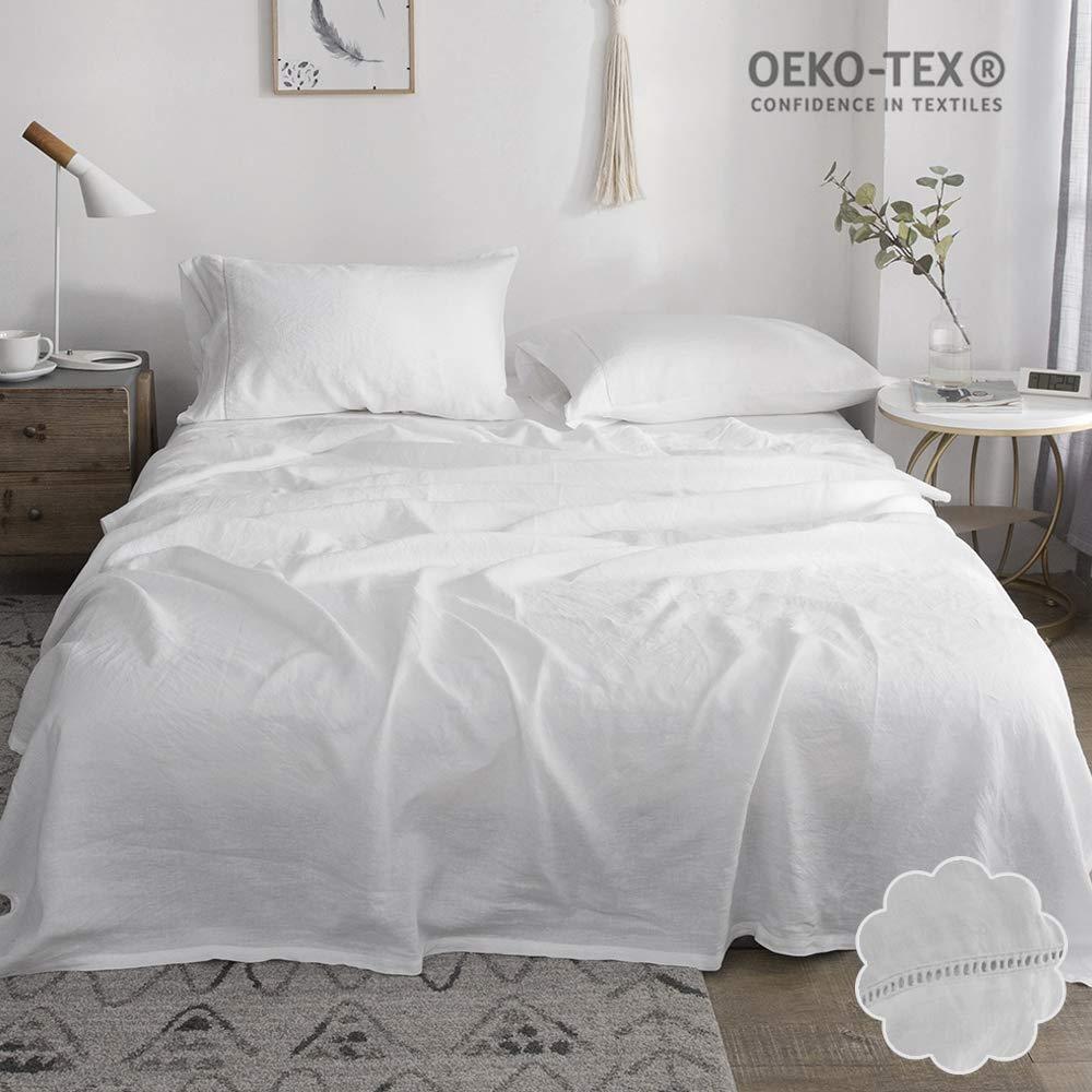 Simple&Opulence 100% Stone Washed Linen 4pcs Hemstitch Design Solid Sheet Set(King, White)