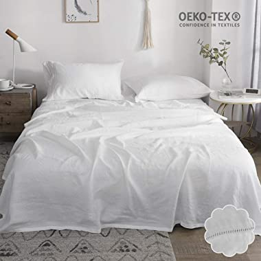 Simple&Opulence 100% Linen Bed Sheet Set 4pcs Hemstitch Design Luxury Bedding Set(White,King)