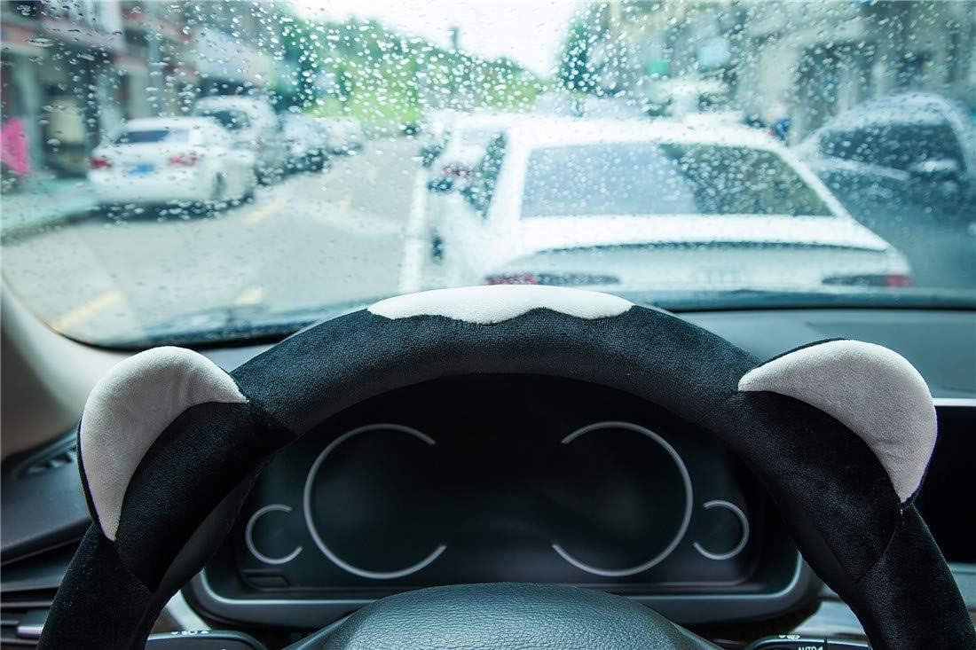 Light Gray ChuLian Cute Winter Warm Plush Auto Car Steering Wheel Cover for Women Girls Universal 15 Inch Car Accessories