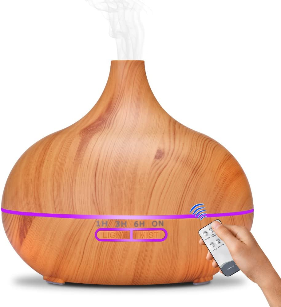 AIREA Aromatherapy Diffuser,550ml Remote Control Cool Mist Humidifier Ultrasonic Aroma Essential Oil Diffuser for Office Home Bedroom Living Room Study Yoga Spa - Wood Grain, 7 Colors LED Light