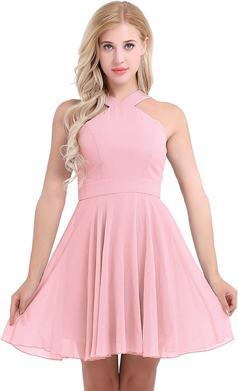 Tiaobug Damen Abendkleid Ärmellos Kurz Brautjungfern Kleid ...