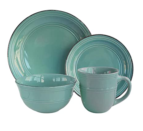 16-Piece Aqua-Blue Earthenware Dishwasher And Microwave Safe Dinnerware Set  sc 1 st  Amazon.com & Amazon.com | 16-Piece Aqua-Blue Earthenware Dishwasher And Microwave ...