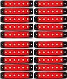 24/7Auto L0051R24 Lot De 20 Balises Latérales/Arrières Lumineuses A Led, 24 V Pour Camion, Remorque, Caravane Rouge