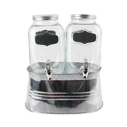 Saveur & Degustation KV7187 - Dispensador de Bebidas de Cristal Transparente y Polipropileno con Soporte de