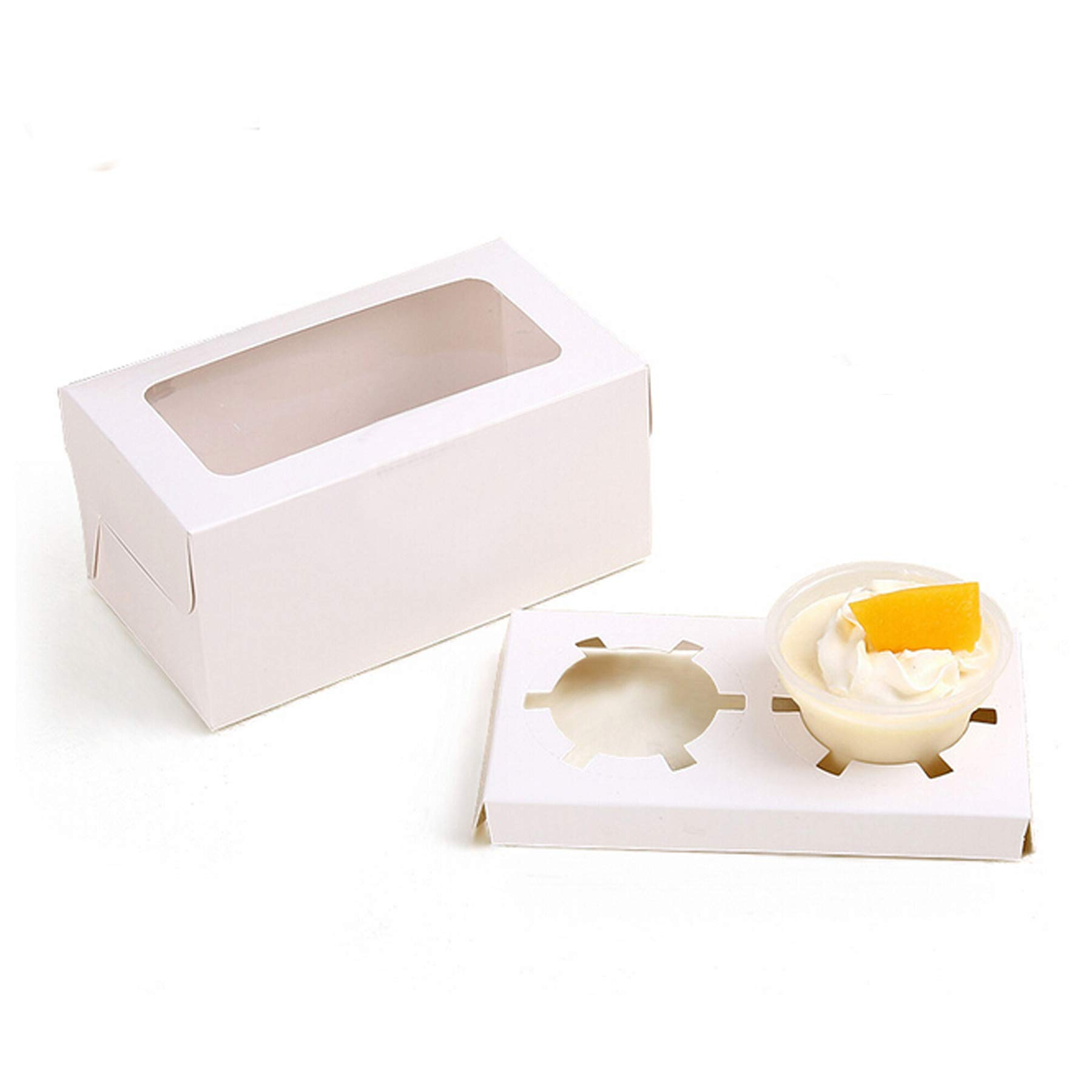 Set of 20 Kraft Bakery Cupcake Boxes Containers with PVC Window/Cardboard Insert + Label Seal Sticker (White)
